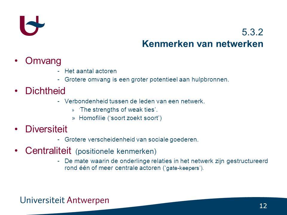 12 5.3.2 Kenmerken van netwerken Omvang -Het aantal actoren -Grotere omvang is een groter potentieel aan hulpbronnen. Dichtheid -Verbondenheid tussen