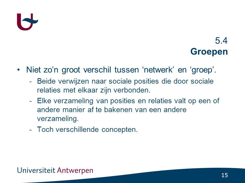 15 5.4 Groepen Niet zo'n groot verschil tussen 'netwerk' en 'groep'. -Beide verwijzen naar sociale posities die door sociale relaties met elkaar zijn