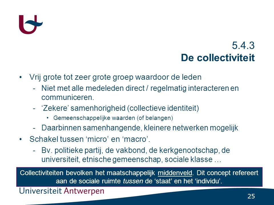 25 5.4.3 De collectiviteit Vrij grote tot zeer grote groep waardoor de leden -Niet met alle medeleden direct / regelmatig interacteren en communiceren