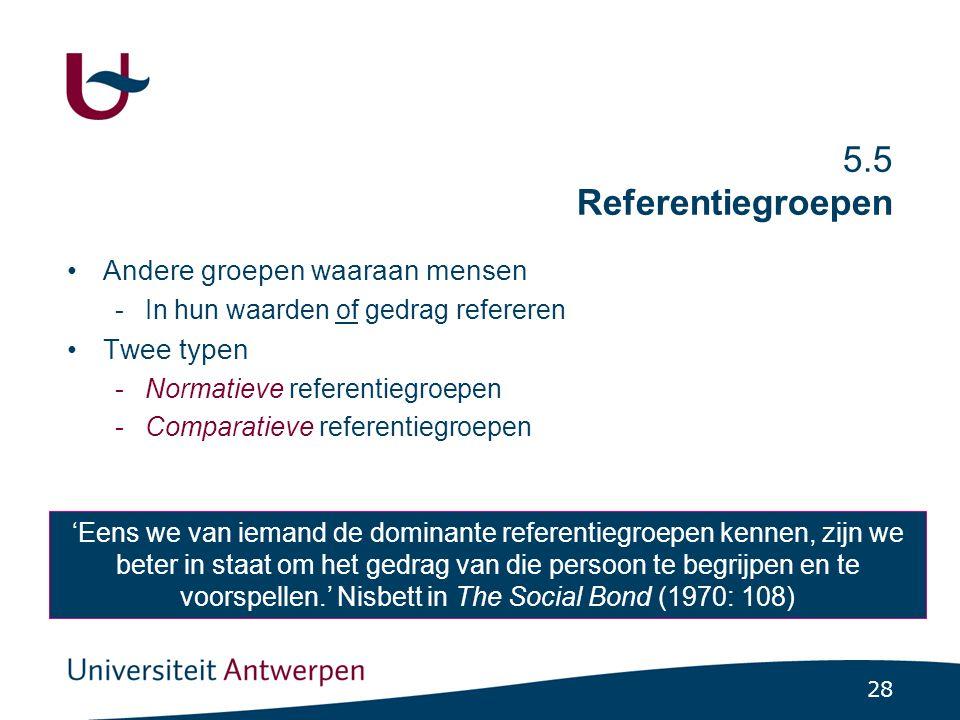 28 5.5 Referentiegroepen Andere groepen waaraan mensen -In hun waarden of gedrag refereren Twee typen -Normatieve referentiegroepen -Comparatieve refe