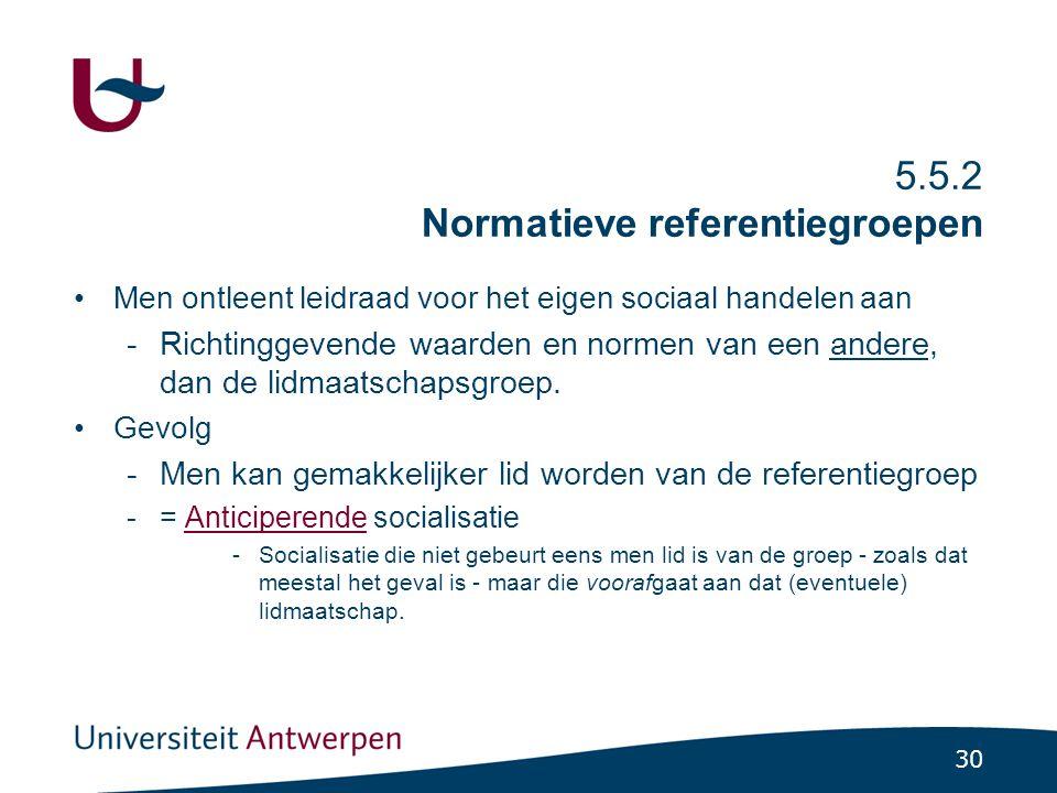 30 5.5.2 Normatieve referentiegroepen Men ontleent leidraad voor het eigen sociaal handelen aan -Richtinggevende waarden en normen van een andere, dan