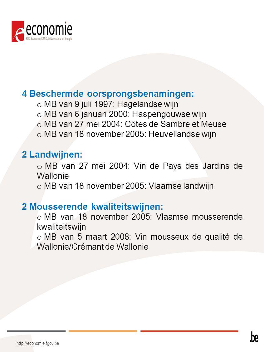 http://economie.fgov.be 4 Beschermde oorsprongsbenamingen: o MB van 9 juli 1997: Hagelandse wijn o MB van 6 januari 2000: Haspengouwse wijn o MB van 2