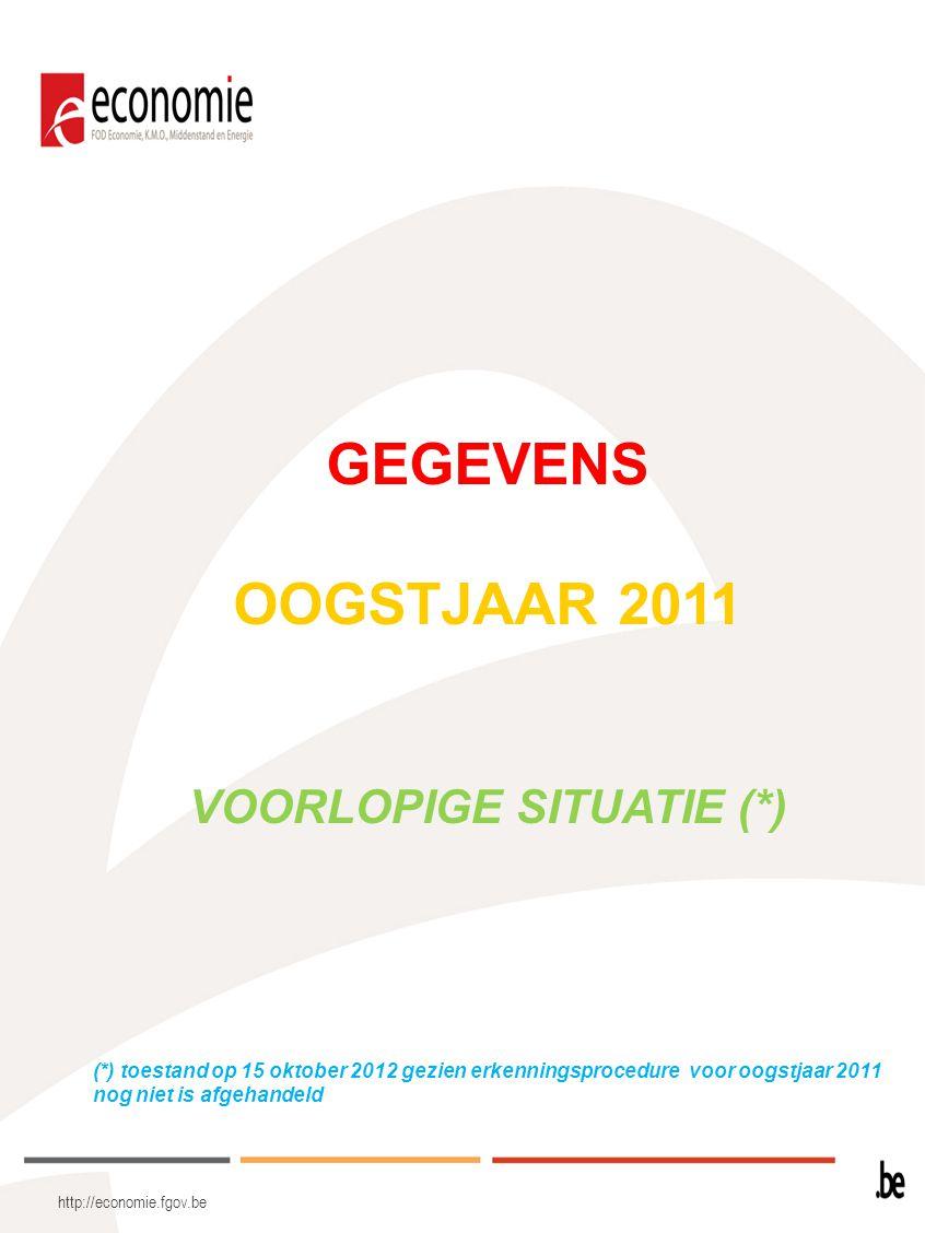 http://economie.fgov.be GEGEVENS OOGSTJAAR 2011 VOORLOPIGE SITUATIE (*) (*) toestand op 15 oktober 2012 gezien erkenningsprocedure voor oogstjaar 2011