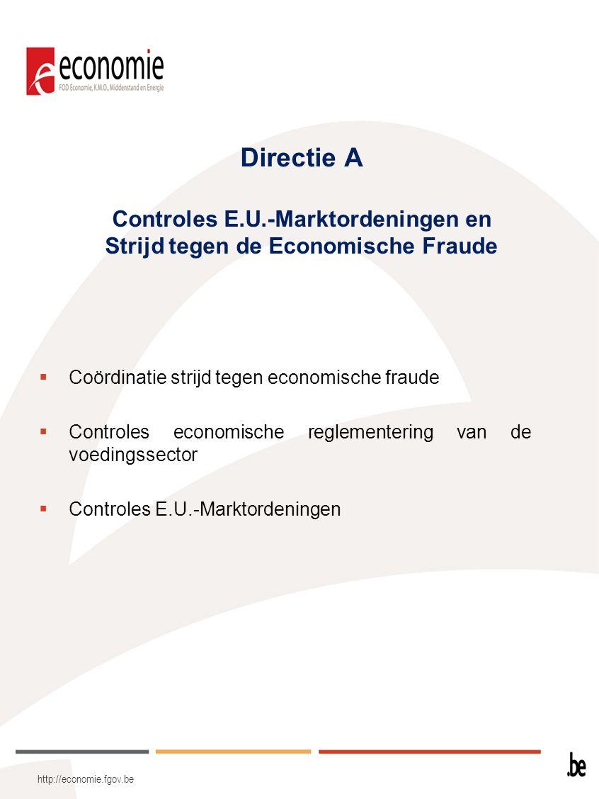 Directie A Controles E.U.-Marktordeningen en Strijd tegen de Economische Fraude  Coördinatie strijd tegen economische fraude  Controles economische