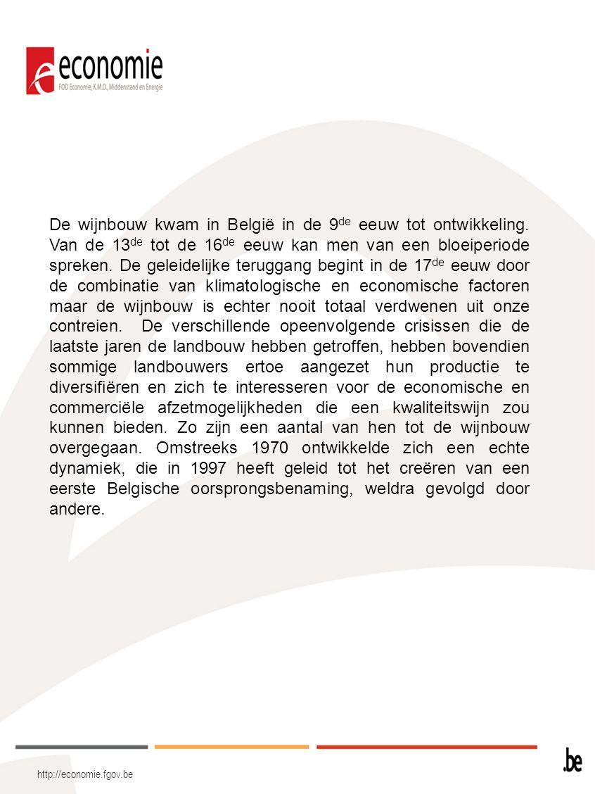 http://economie.fgov.be De wijnbouw kwam in België in de 9 de eeuw tot ontwikkeling. Van de 13 de tot de 16 de eeuw kan men van een bloeiperiode sprek