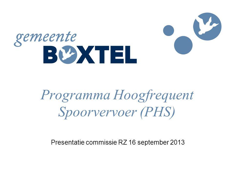 Programma Hoogfrequent Spoorvervoer (PHS) Presentatie commissie RZ 16 september 2013