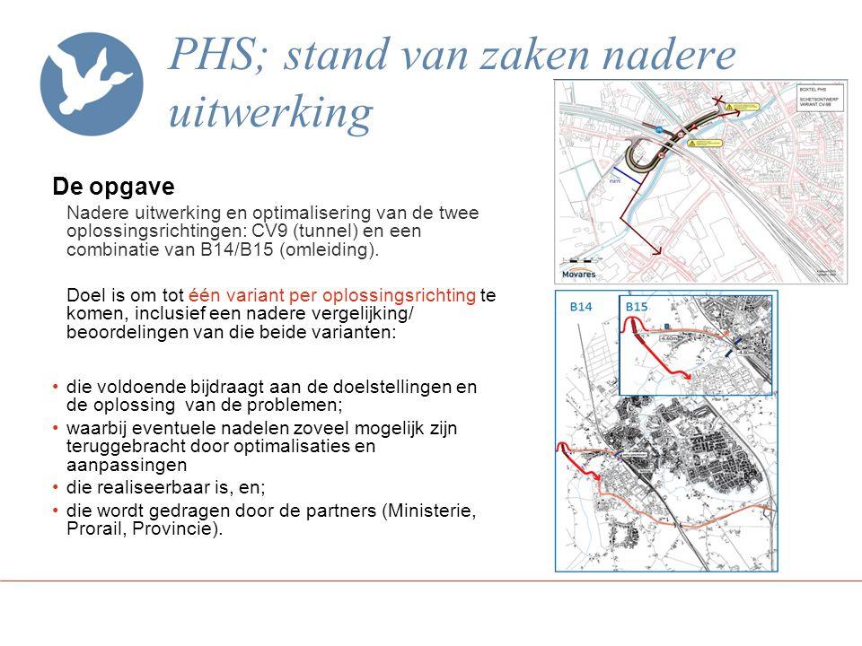 PHS; stand van zaken nadere uitwerking De opgave Nadere uitwerking en optimalisering van de twee oplossingsrichtingen: CV9 (tunnel) en een combinatie