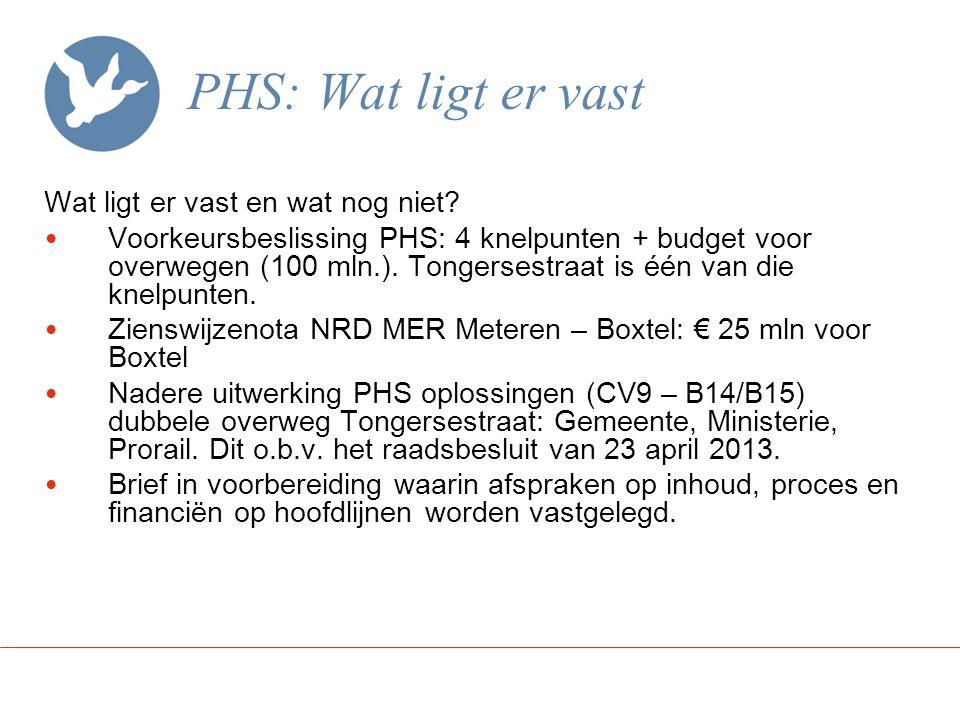 PHS: Wat ligt er vast Wat ligt er vast en wat nog niet? Voorkeursbeslissing PHS: 4 knelpunten + budget voor overwegen (100 mln.). Tongersestraat is éé