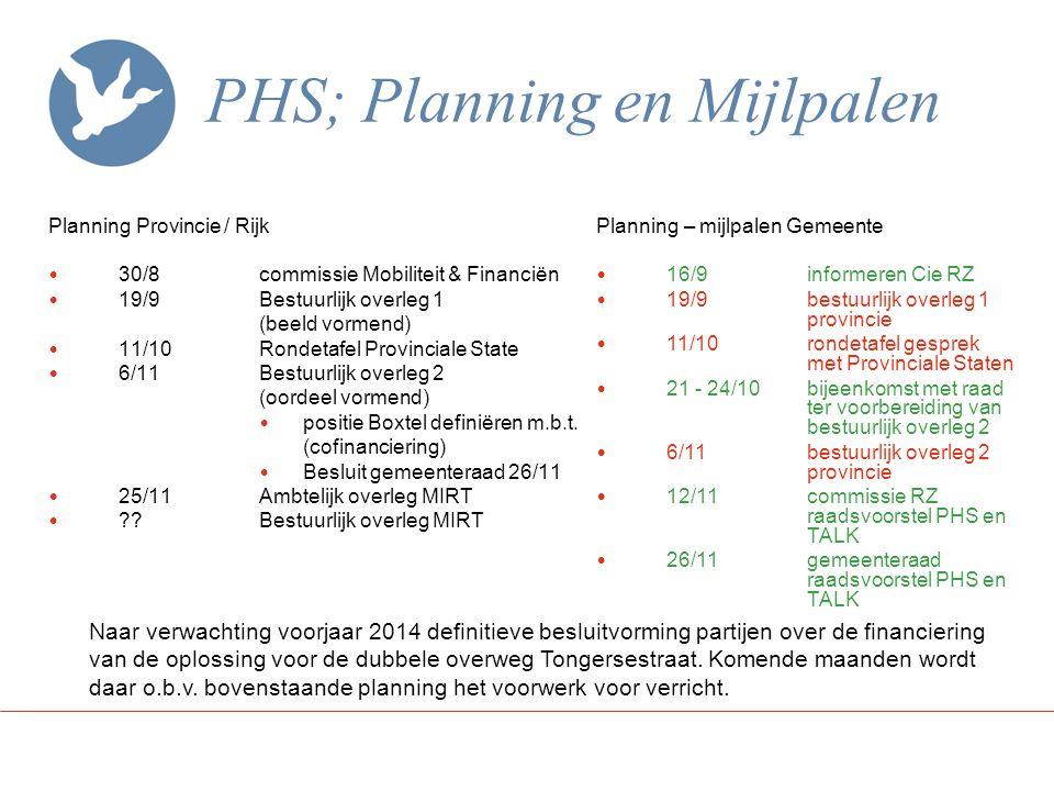 PHS; Planning en Mijlpalen Planning Provincie / Rijk 30/8commissie Mobiliteit & Financiën 19/9Bestuurlijk overleg 1 (beeld vormend) 11/10Rondetafel Pr