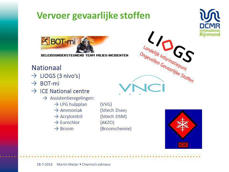 Vervoer gevaarlijke stoffen 18-7-2014 Nationaal LIOGS (3 nivo's) BOT-mi ICE National centre Assistentieregelingen: LPG hulpplan (VVG) Ammoniak (Sitech