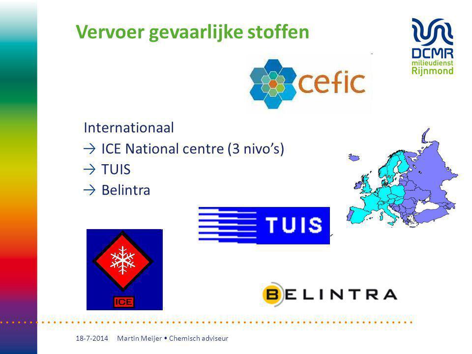 Vervoer gevaarlijke stoffen 18-7-2014 Internationaal ICE National centre (3 nivo's) TUIS Belintra Martin Meijer Chemisch adviseur