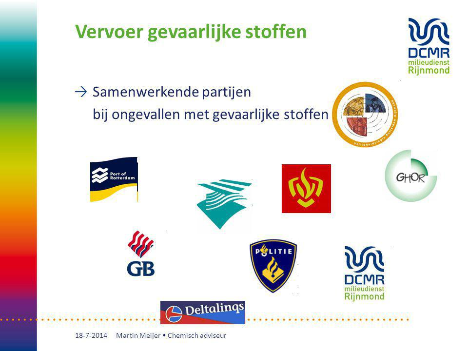 Vervoer gevaarlijke stoffen Samenwerkende partijen bij ongevallen met gevaarlijke stoffen 18-7-2014 Martin Meijer Chemisch adviseur