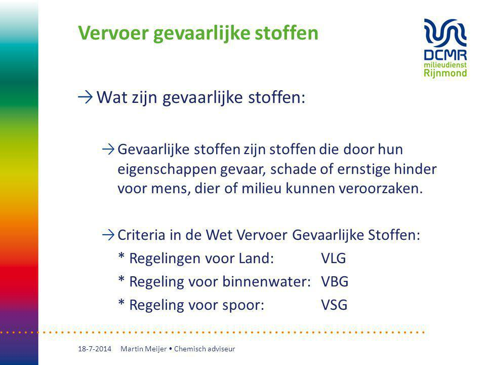 Vervoer gevaarlijke stoffen Internationale regelgeving: * IATA-DGR (luchtverlading) International Air Transport Association - Dangerous Goods Regulations * IMDG-code (zeevervoer) International Maritime Dangerous Goods Code 18-7-2014 Martin Meijer Chemisch adviseur