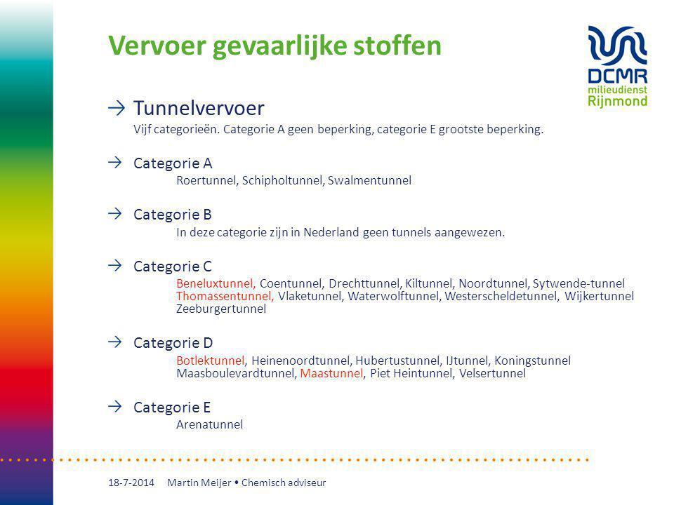 Vervoer gevaarlijke stoffen Tunnelvervoer Vijf categorieën. Categorie A geen beperking, categorie E grootste beperking. Categorie A Roertunnel, Schiph