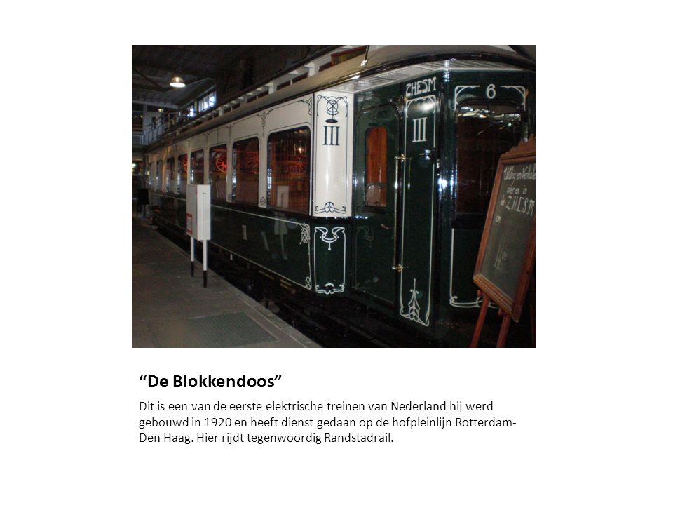 De Blokkendoos Dit is een van de eerste elektrische treinen van Nederland hij werd gebouwd in 1920 en heeft dienst gedaan op de hofpleinlijn Rotterdam- Den Haag.