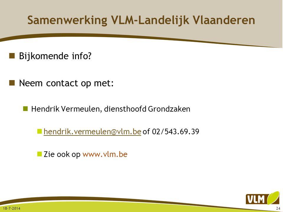 Samenwerking VLM-Landelijk Vlaanderen Bijkomende info? Neem contact op met: Hendrik Vermeulen, diensthoofd Grondzaken hendrik.vermeulen@vlm.be of 02/5