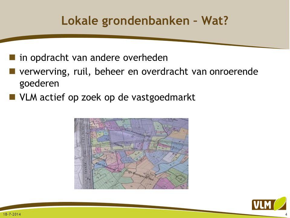 Lokale grondenbanken – Wat? in opdracht van andere overheden verwerving, ruil, beheer en overdracht van onroerende goederen VLM actief op zoek op de v