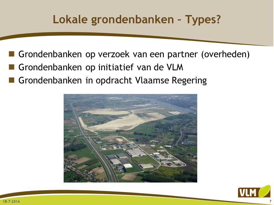 Lokale grondenbanken – Types? Grondenbanken op verzoek van een partner (overheden) Grondenbanken op initiatief van de VLM Grondenbanken in opdracht Vl