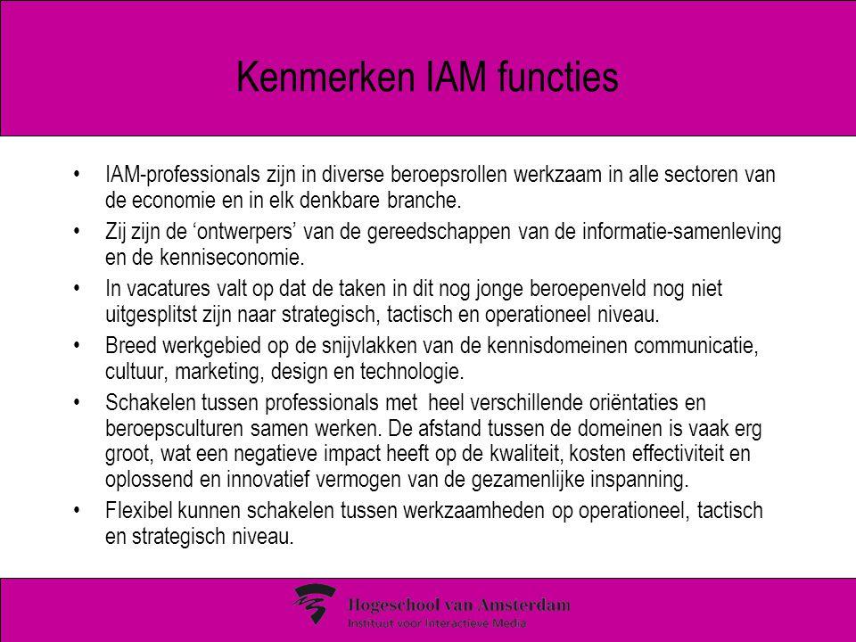 Kenmerken IAM functies IAM-professionals zijn in diverse beroepsrollen werkzaam in alle sectoren van de economie en in elk denkbare branche. Zij zijn