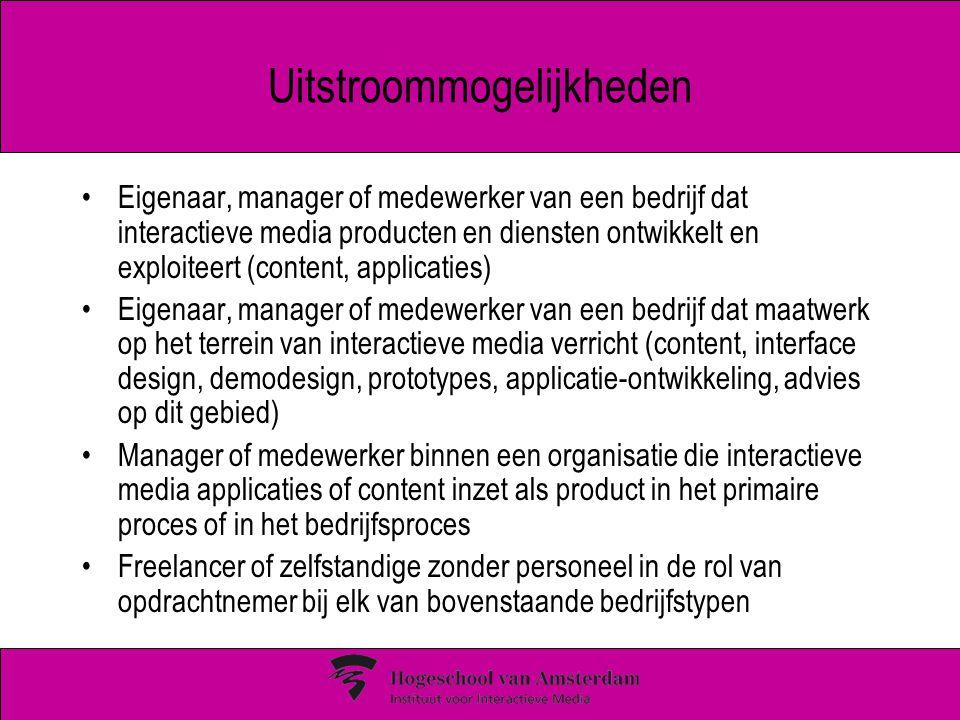 Uitstroommogelijkheden Eigenaar, manager of medewerker van een bedrijf dat interactieve media producten en diensten ontwikkelt en exploiteert (content