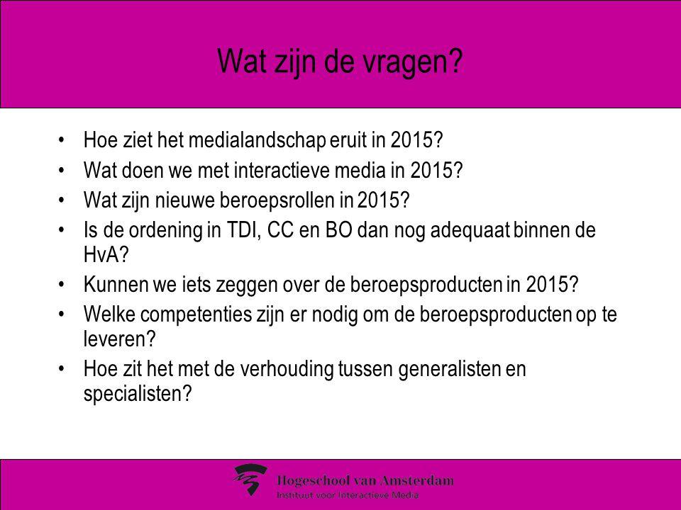 Wat zijn de vragen? Hoe ziet het medialandschap eruit in 2015? Wat doen we met interactieve media in 2015? Wat zijn nieuwe beroepsrollen in 2015? Is d