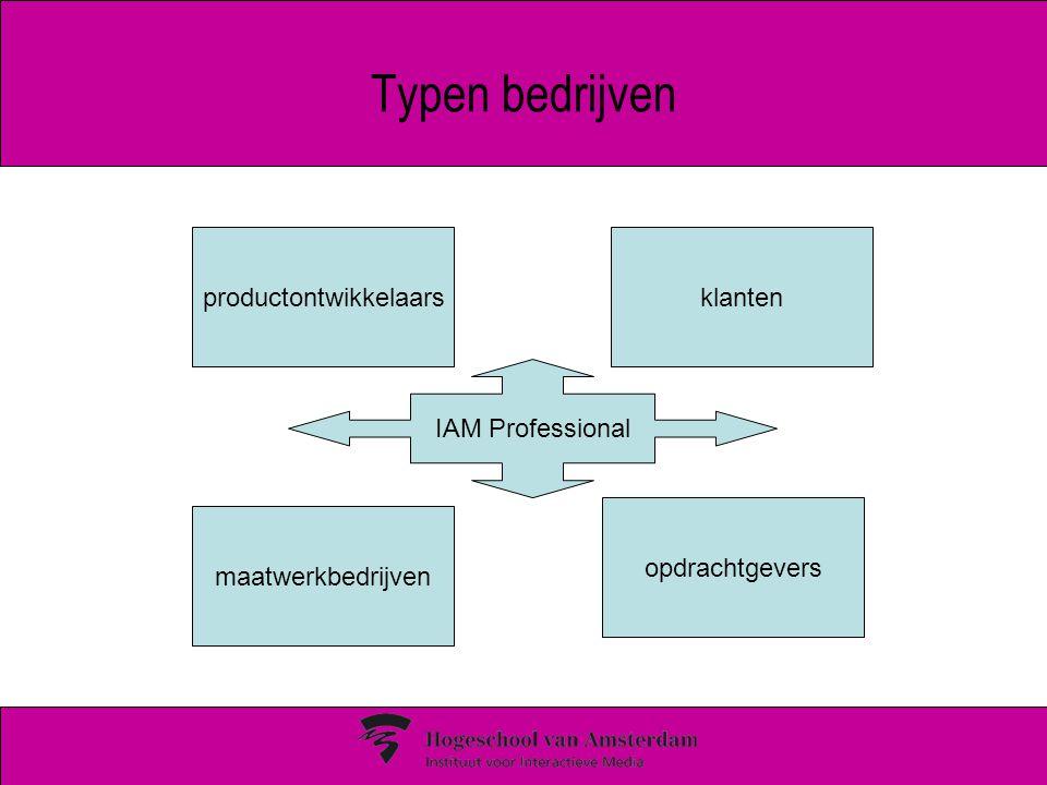 Typen bedrijven productontwikkelaars maatwerkbedrijven klanten opdrachtgevers IAM Professional