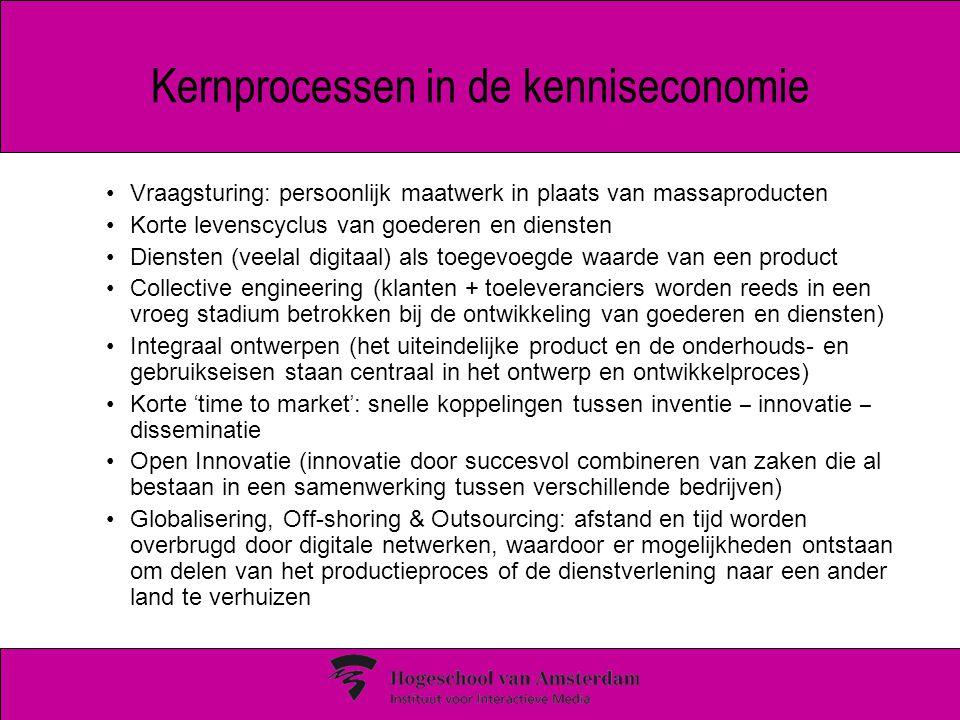 Kernprocessen in de kenniseconomie Vraagsturing: persoonlijk maatwerk in plaats van massaproducten Korte levenscyclus van goederen en diensten Diensten (veelal digitaal) als toegevoegde waarde van een product Collective engineering (klanten + toeleveranciers worden reeds in een vroeg stadium betrokken bij de ontwikkeling van goederen en diensten) Integraal ontwerpen (het uiteindelijke product en de onderhouds- en gebruikseisen staan centraal in het ontwerp en ontwikkelproces) Korte ' time to market ' : snelle koppelingen tussen inventie – innovatie – disseminatie Open Innovatie (innovatie door succesvol combineren van zaken die al bestaan in een samenwerking tussen verschillende bedrijven) Globalisering, Off-shoring & Outsourcing: afstand en tijd worden overbrugd door digitale netwerken, waardoor er mogelijkheden ontstaan om delen van het productieproces of de dienstverlening naar een ander land te verhuizen