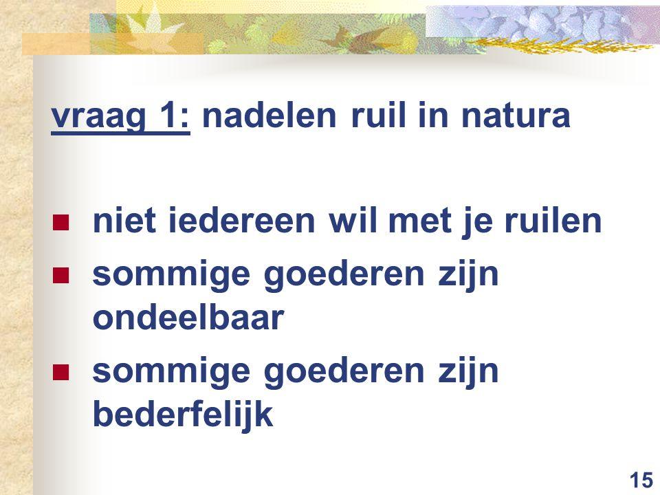 15 vraag 1: nadelen ruil in natura niet iedereen wil met je ruilen sommige goederen zijn ondeelbaar sommige goederen zijn bederfelijk