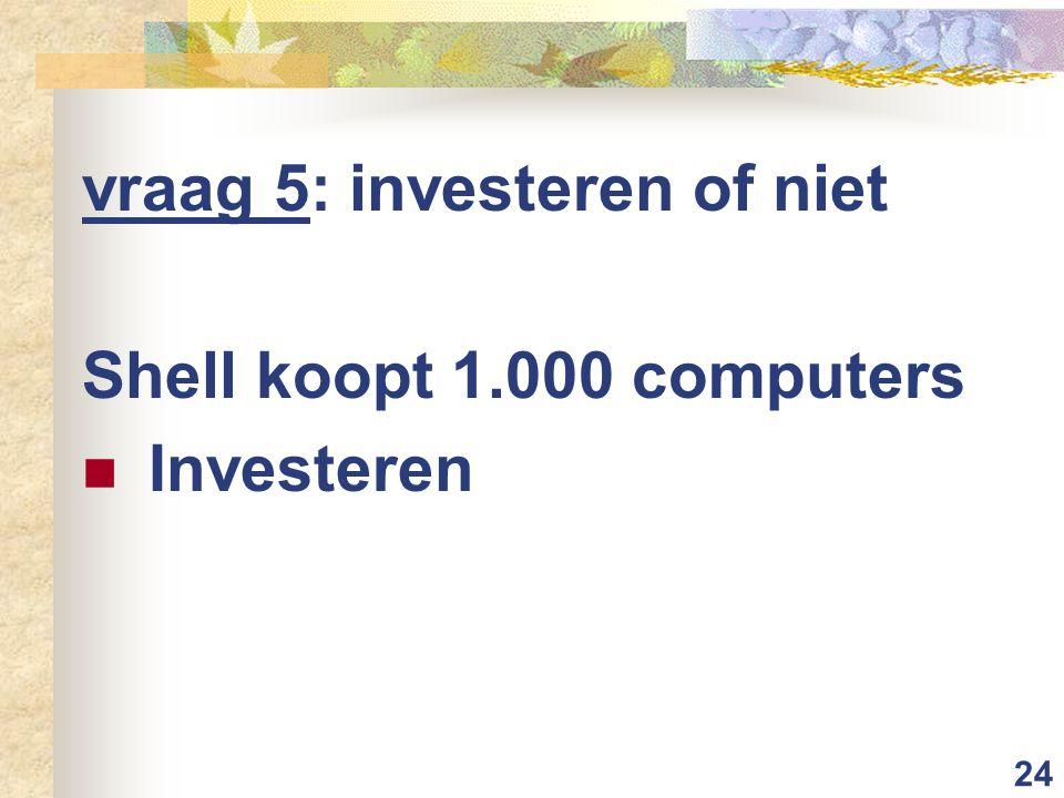 24 vraag 5: investeren of niet Shell koopt 1.000 computers Investeren
