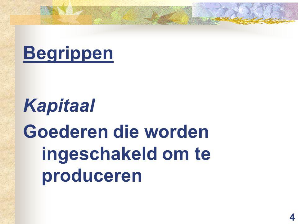 4 Begrippen Kapitaal Goederen die worden ingeschakeld om te produceren