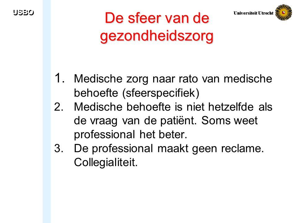 USBO Universiteit Utrecht De sfeer van de gezondheidszorg 1. Medische zorg naar rato van medische behoefte (sfeerspecifiek) 2. Medische behoefte is ni