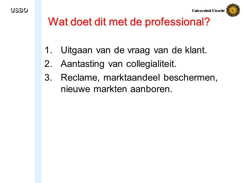 USBO Universiteit Utrecht Wat doet dit met de professional? 1.Uitgaan van de vraag van de klant. 2.Aantasting van collegialiteit. 3.Reclame, marktaand