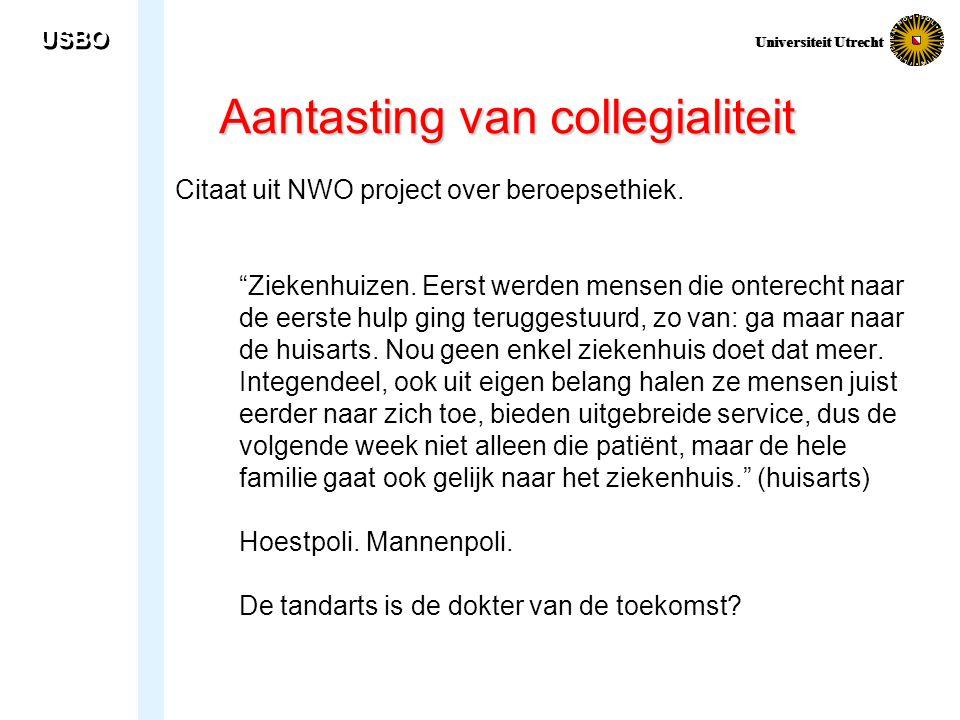 USBO Universiteit Utrecht Aantasting van collegialiteit Citaat uit NWO project over beroepsethiek.