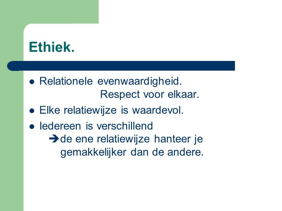 Ethiek.Relationele evenwaardigheid. Respect voor elkaar.