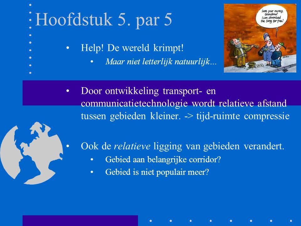 Hoofdstuk 5. par 5 Help! De wereld krimpt! Maar niet letterlijk natuurlijk… Door ontwikkeling transport- en communicatietechnologie wordt relatieve af