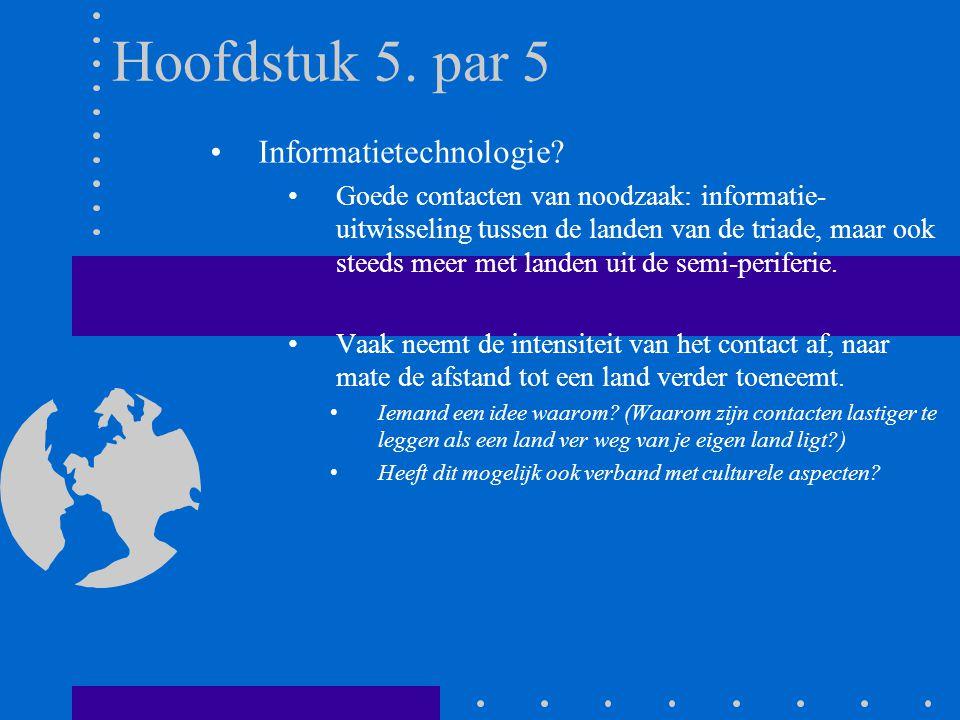 Hoofdstuk 5. par 5 Informatietechnologie? Goede contacten van noodzaak: informatie- uitwisseling tussen de landen van de triade, maar ook steeds meer