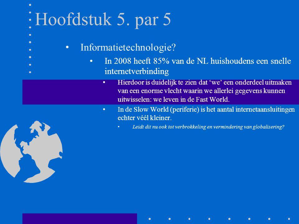 Hoofdstuk 5. par 5 Informatietechnologie? In 2008 heeft 85% van de NL huishoudens een snelle internetverbinding Hierdoor is duidelijk te zien dat 'we'