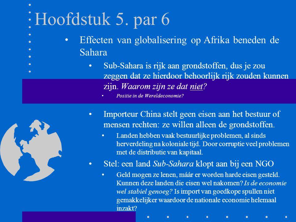 Hoofdstuk 5. par 6 Effecten van globalisering op Afrika beneden de Sahara Sub-Sahara is rijk aan grondstoffen, dus je zou zeggen dat ze hierdoor behoo