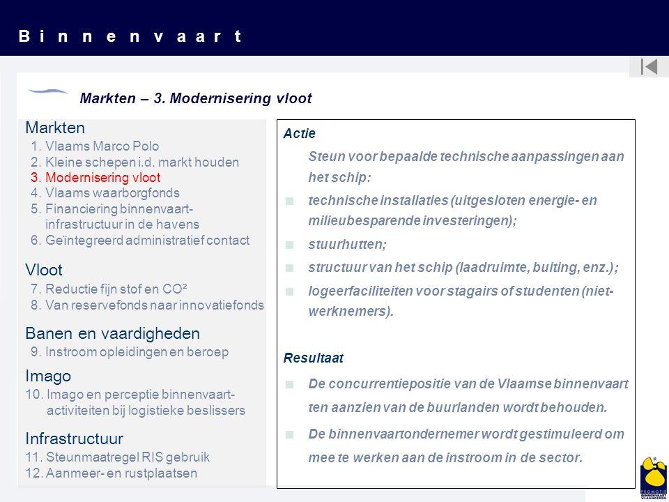 B i n n e n v a a r t Markten – 3. Modernisering vloot Actie Steun voor bepaalde technische aanpassingen aan het schip:  technische installaties (uit