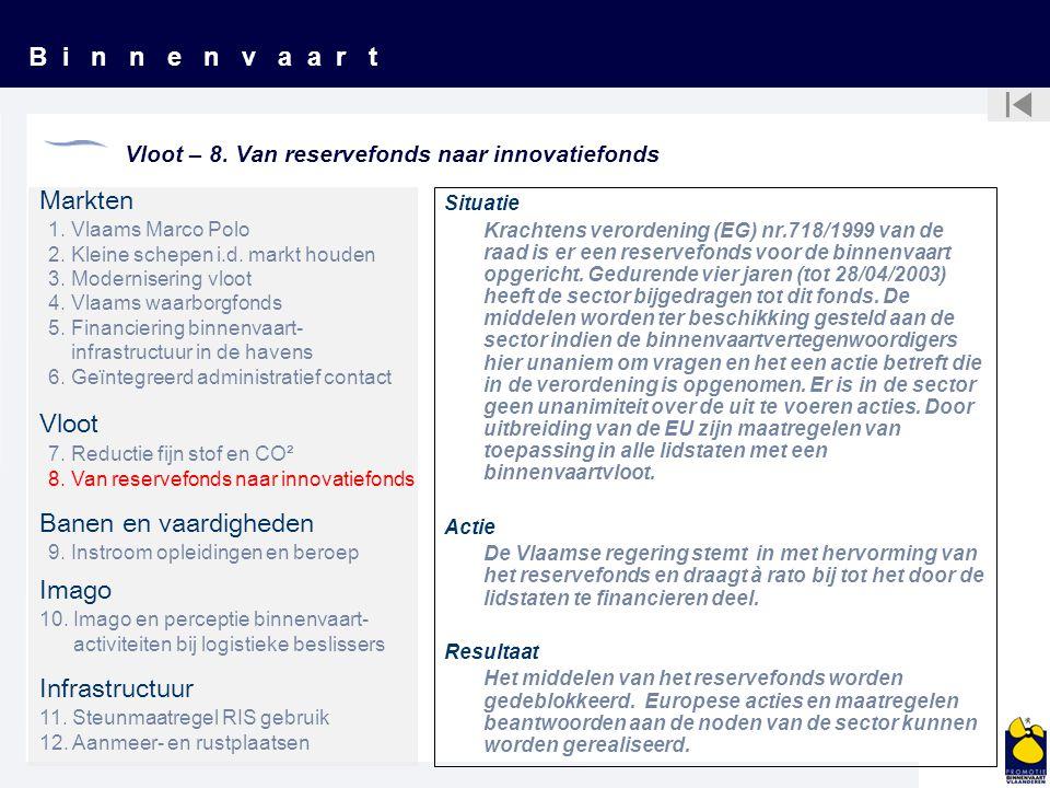 B i n n e n v a a r t Vloot – 8. Van reservefonds naar innovatiefonds Situatie Krachtens verordening (EG) nr.718/1999 van de raad is er een reservefon