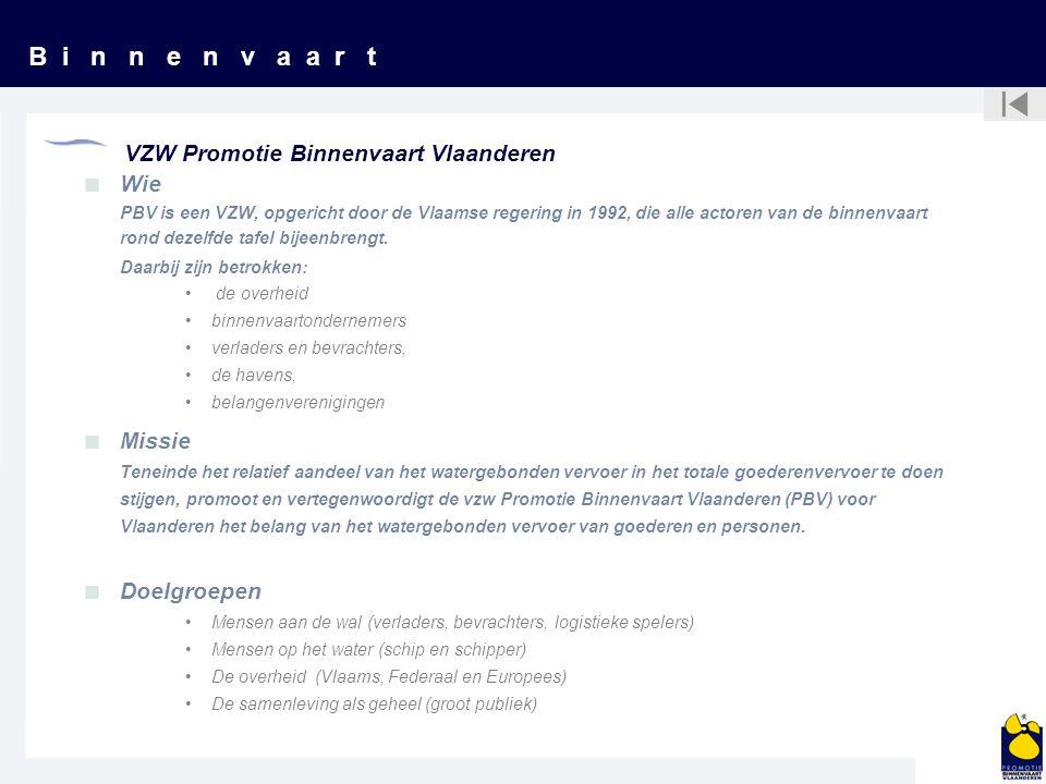 B i n n e n v a a r t VZW Promotie Binnenvaart Vlaanderen  Wie PBV is een VZW, opgericht door de Vlaamse regering in 1992, die alle actoren van de bi