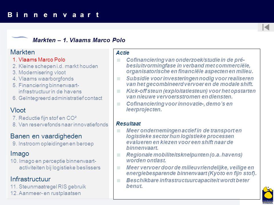 B i n n e n v a a r t Markten – 1. Vlaams Marco Polo Markten Vloot Banen en vaardigheden Imago Infrastructuur 1. Vlaams Marco Polo 2. Kleine schepen i