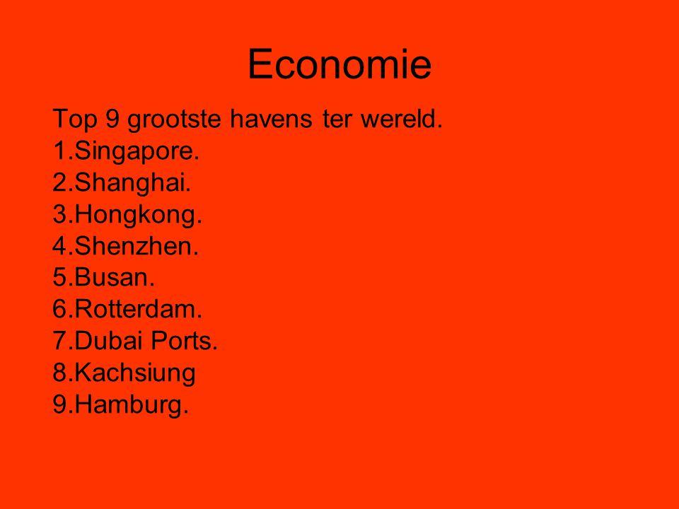 Economie Top 9 grootste havens ter wereld. 1.Singapore. 2.Shanghai. 3.Hongkong. 4.Shenzhen. 5.Busan. 6.Rotterdam. 7.Dubai Ports. 8.Kachsiung 9.Hamburg