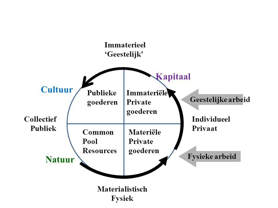 Collectief Publiek Individueel Privaat Immaterieel 'Geestelijk' Materialistisch Fysiek Fysieke arbeidGeestelijke arbeid Natuur Cultuur Kapitaal Common