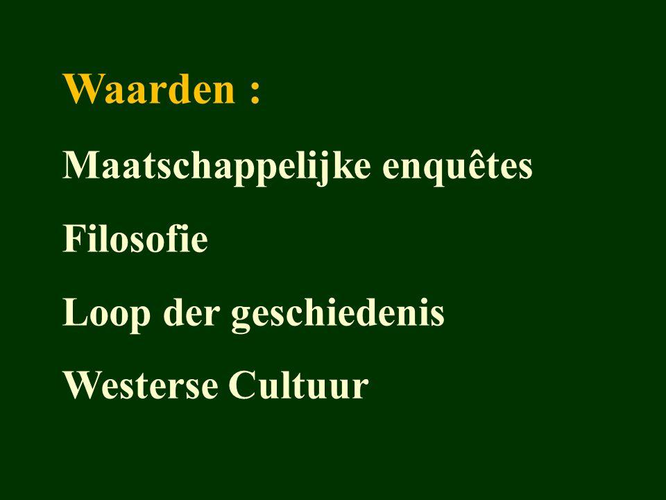 Waarden : Maatschappelijke enquêtes Filosofie Loop der geschiedenis Westerse Cultuur