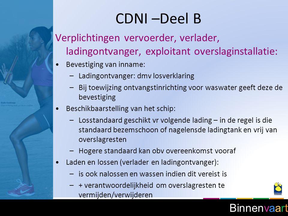 Binnenvaart CDNI –Deel B Oplevering schip: –Principe = oplevering met bezem- of vacuümschoon laadruim of nagelensde ladingtank.