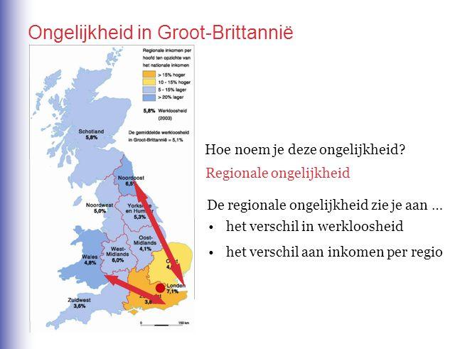 Hoe noem je deze ongelijkheid? Regionale ongelijkheid De regionale ongelijkheid zie je aan … het verschil in werkloosheid het verschil aan inkomen per