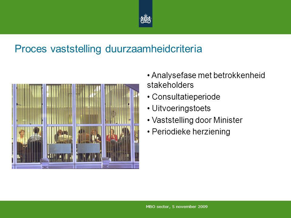 MBO sector, 5 november 2009 Proces vaststelling duurzaamheidcriteria Analysefase met betrokkenheid stakeholders Consultatieperiode Uitvoeringstoets Va