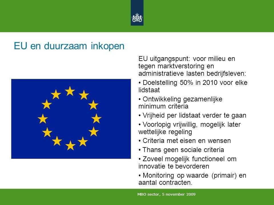 MBO sector, 5 november 2009 EU en duurzaam inkopen EU uitgangspunt: voor milieu en tegen marktverstoring en administratieve lasten bedrijfsleven: Doel