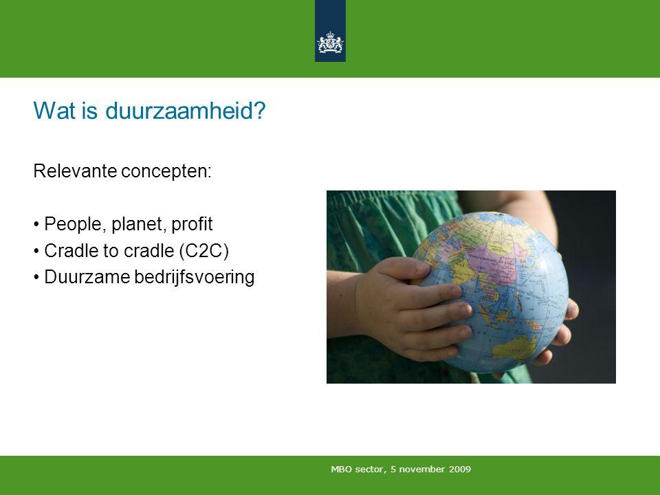 MBO sector, 5 november 2009 Wat is duurzaamheid? Relevante concepten: People, planet, profit Cradle to cradle (C2C) Duurzame bedrijfsvoering